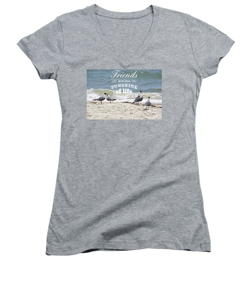 Women's V-Neck T-Shirt (Junior Cut) featuring the photograph Friends In Life by Jan Amiss Photography