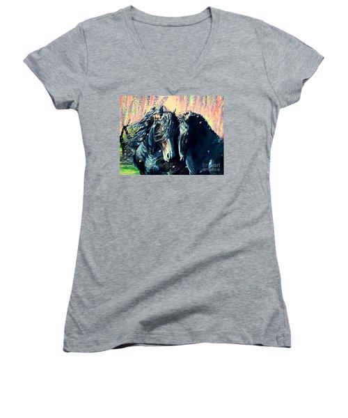 A Friesian Romance Women's V-Neck T-Shirt (Junior Cut) by Ruanna Sion Shadd a'Dann'l Yoder