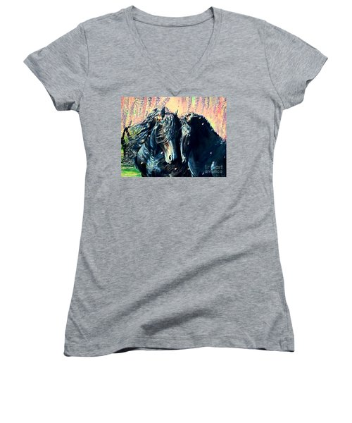 A Friesian Romance Women's V-Neck T-Shirt