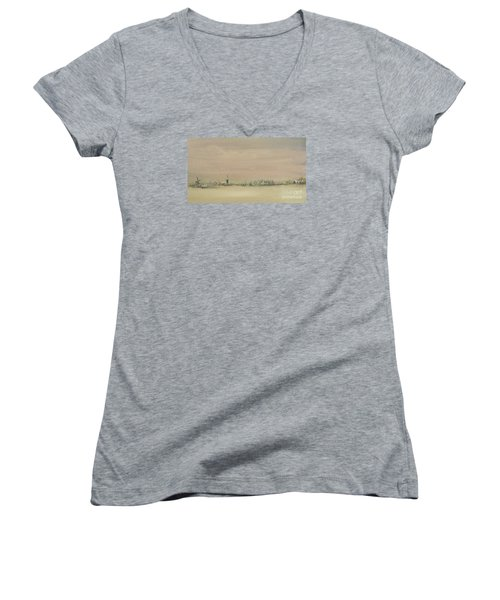 Women's V-Neck T-Shirt (Junior Cut) featuring the painting Friesland Under Snow by Annemeet Hasidi- van der Leij