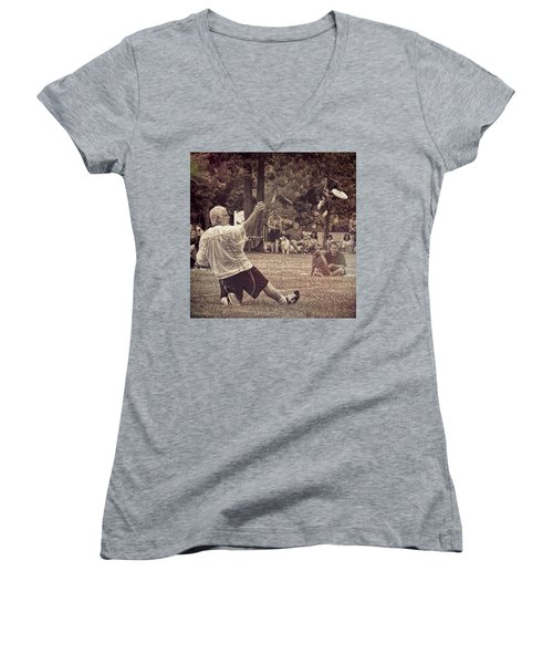 Women's V-Neck T-Shirt featuring the photograph Frisbee Catcher by Lewis Mann