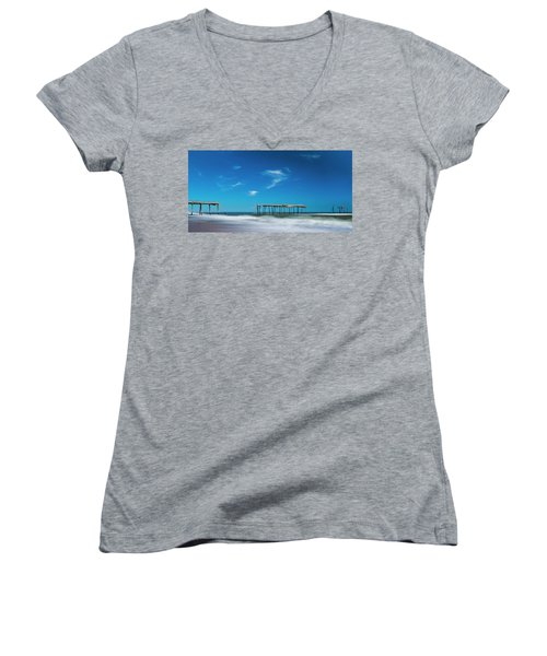 Frisco Fishing Pier In North Carolina Panorama Women's V-Neck