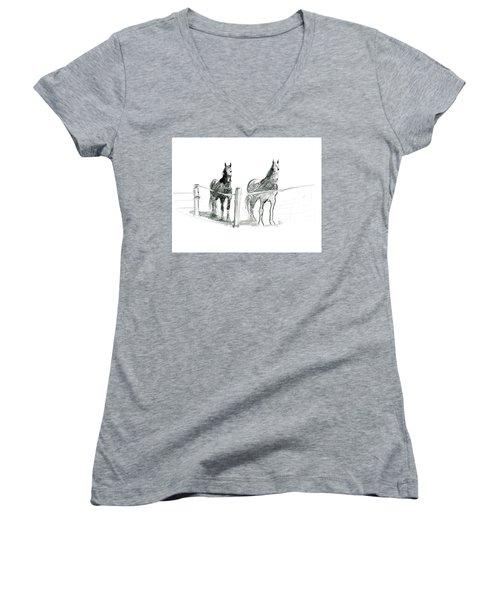 Friesian Horses Women's V-Neck