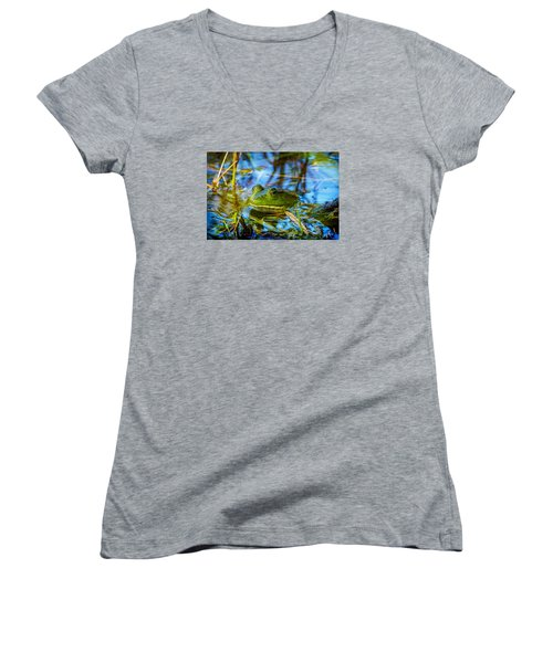 Frog In My Pond Women's V-Neck (Athletic Fit)