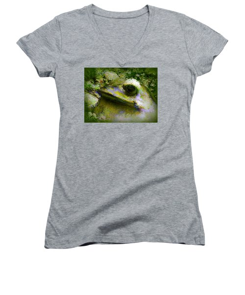 Women's V-Neck T-Shirt (Junior Cut) featuring the photograph Frog In The Pond by Lori Seaman