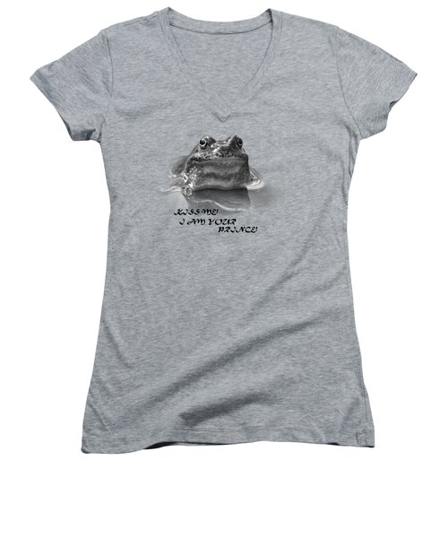 Women's V-Neck T-Shirt (Junior Cut) featuring the photograph Frog The Prince by Jivko Nakev