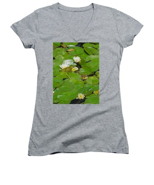 Frog With Water Lilies Women's V-Neck T-Shirt (Junior Cut) by Mark Barclay