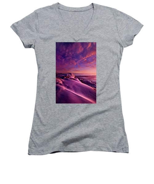Women's V-Neck T-Shirt (Junior Cut) featuring the photograph From Inside The Heart Of Each by Phil Koch