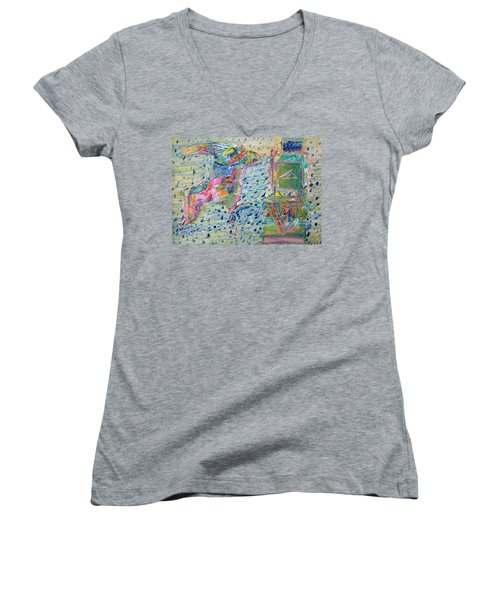 Women's V-Neck T-Shirt (Junior Cut) featuring the painting From The Altered City by Fabrizio Cassetta