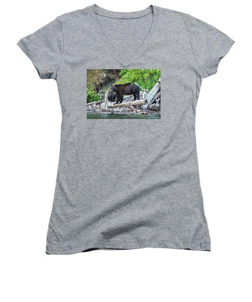 From The Great Bear Rainforest Women's V-Neck T-Shirt (Junior Cut) by Scott Warner