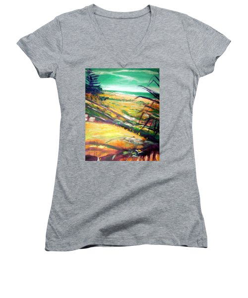 Women's V-Neck T-Shirt (Junior Cut) featuring the painting From The Lawn Pandanus by Winsome Gunning