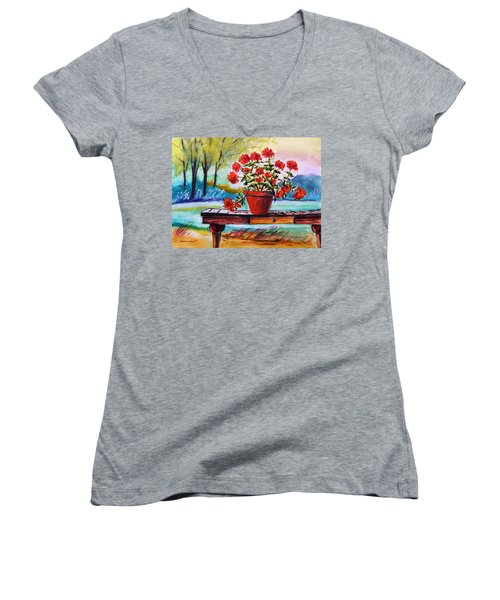Women's V-Neck T-Shirt (Junior Cut) featuring the painting From The Potting Shed by John Williams