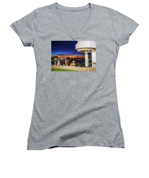 Women's V-Neck T-Shirt (Junior Cut) featuring the photograph From The Rock Hall by Brent Durken