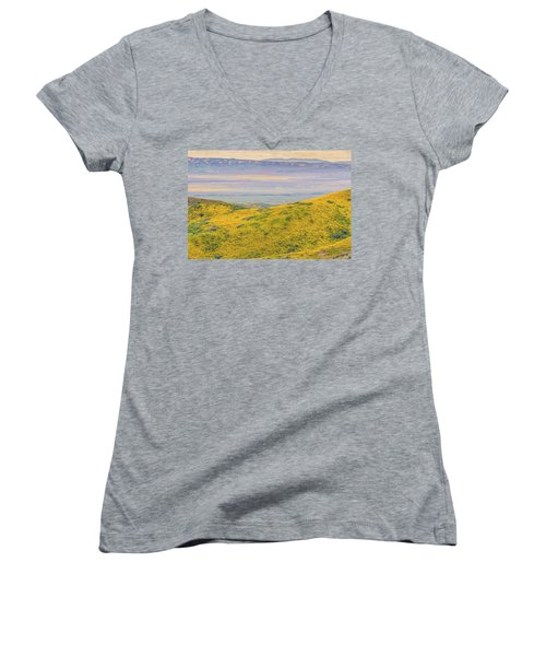 Women's V-Neck T-Shirt (Junior Cut) featuring the photograph From The Temblor Range To The Caliente Range by Marc Crumpler