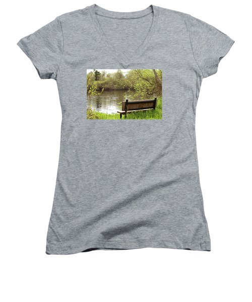 Women's V-Neck T-Shirt (Junior Cut) featuring the photograph Front Row Seat by Art Block Collections