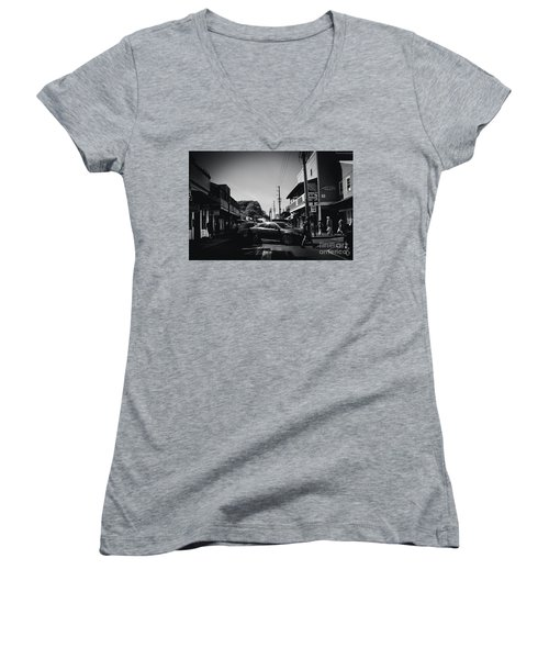 Women's V-Neck T-Shirt (Junior Cut) featuring the photograph Front Street  by Sharon Mau