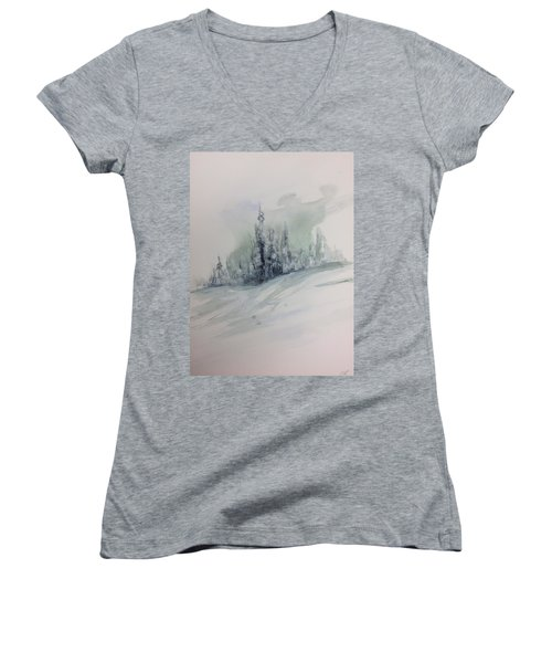 Frost On The Pines Women's V-Neck (Athletic Fit)