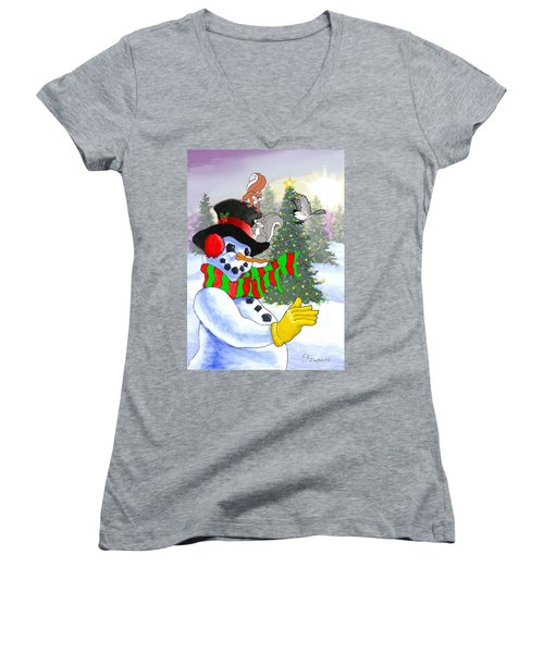 Frosty And Friends Women's V-Neck (Athletic Fit)