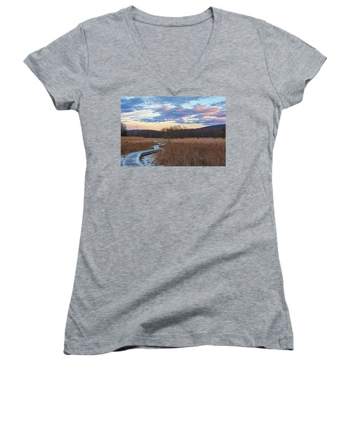 Frosty Blue Trail Women's V-Neck T-Shirt (Junior Cut) by Angelo Marcialis