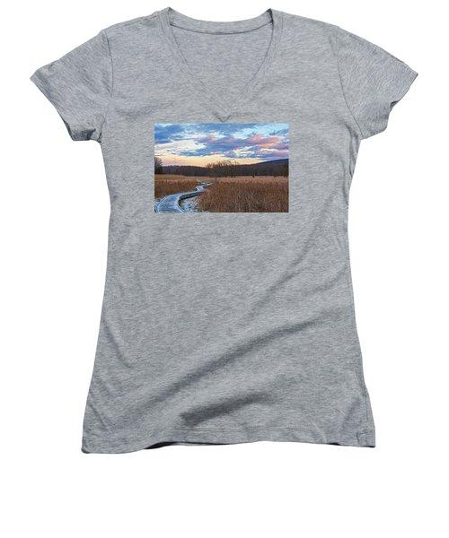Frosty Blue Trail Women's V-Neck T-Shirt