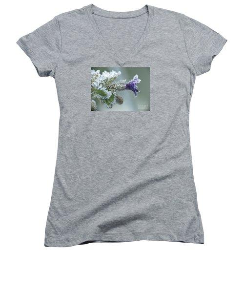 Frosty Flower Women's V-Neck T-Shirt (Junior Cut) by Odon Czintos