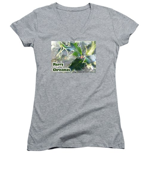 Women's V-Neck T-Shirt (Junior Cut) featuring the photograph Frosty Holly by LemonArt Photography