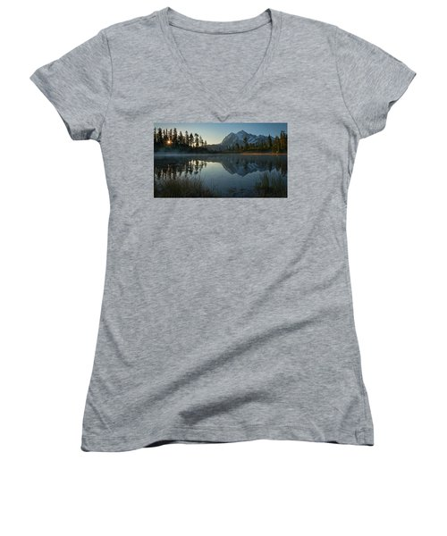 Women's V-Neck T-Shirt (Junior Cut) featuring the photograph Frosty Picture Lake by Dan Mihai