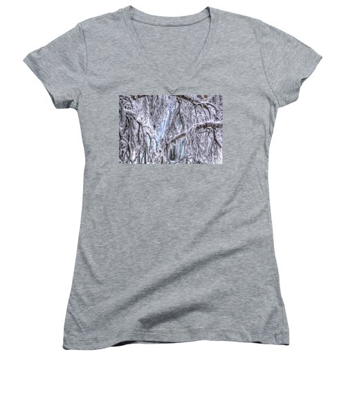 Women's V-Neck featuring the photograph Frozen Falls by Fiskr Larsen