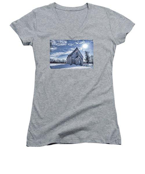 Frozen Land Women's V-Neck T-Shirt (Junior Cut) by Alana Ranney