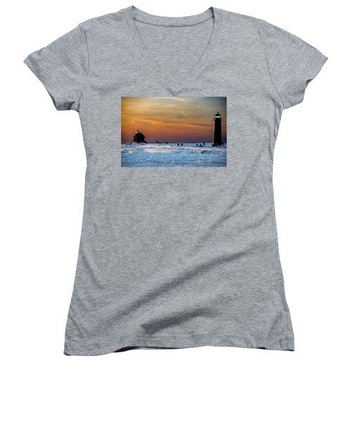 Frozen Lighthouse Women's V-Neck T-Shirt