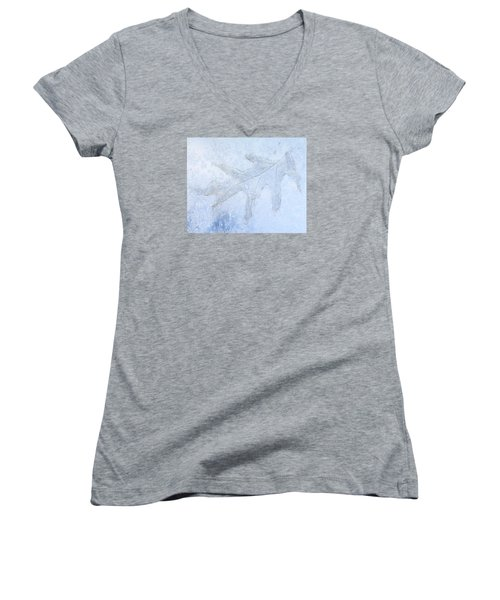 Frozen Oak Leaf Imprint Women's V-Neck T-Shirt (Junior Cut) by Kathy M Krause