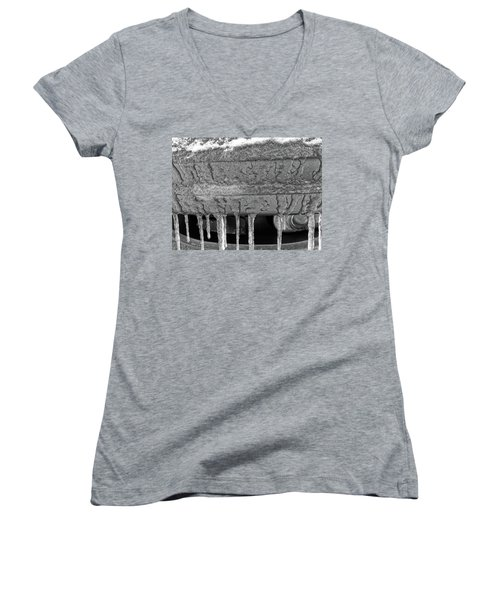 Women's V-Neck featuring the photograph Frozen Road Warrior by Robert Knight