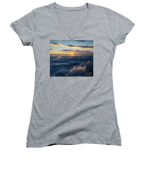 Frozen Sevan Lake And Icicles At Sunset, Armenia Women's V-Neck T-Shirt