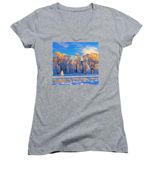 Frozen Sunrise Women's V-Neck T-Shirt (Junior Cut) by Greg Norrell