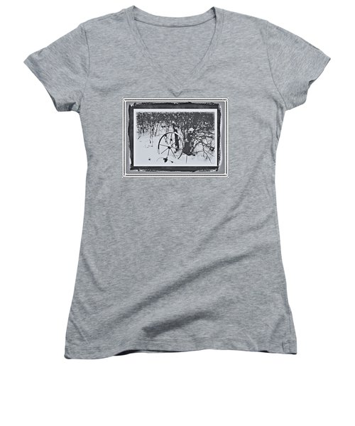 Women's V-Neck T-Shirt (Junior Cut) featuring the photograph Frozen In Time by Cathy Harper