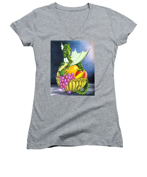 Women's V-Neck featuring the painting Fruit Dragon by Mary Hoy