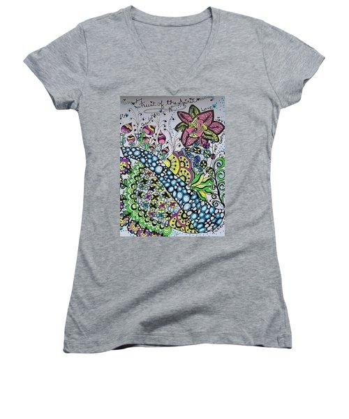 Fruit Of The Spirit Women's V-Neck T-Shirt (Junior Cut) by Carole Brecht