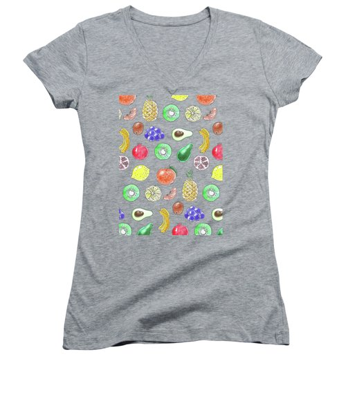 Fruit Pattern  Women's V-Neck T-Shirt (Junior Cut) by Katerina Kirilova