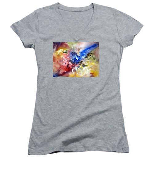Women's V-Neck T-Shirt (Junior Cut) featuring the painting Fruitfulness by Raymond Doward