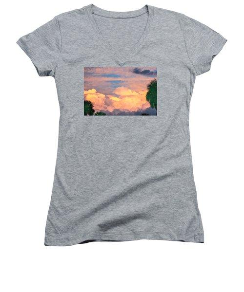 Ft De Soto Sunset Clouds Women's V-Neck