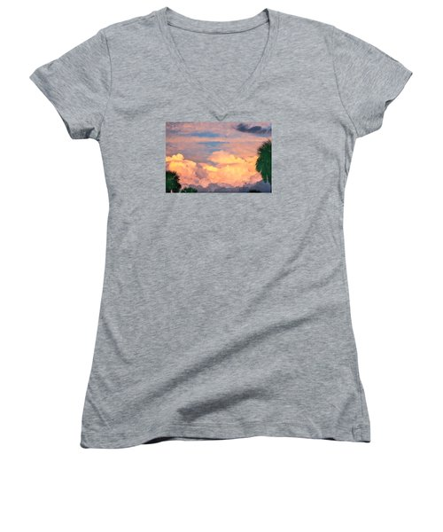 Ft De Soto Sunset Clouds Women's V-Neck T-Shirt