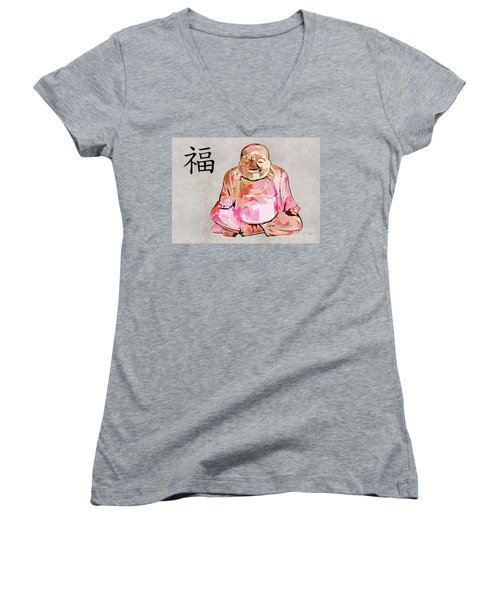 Fu - Good Fortune Symbol Women's V-Neck T-Shirt