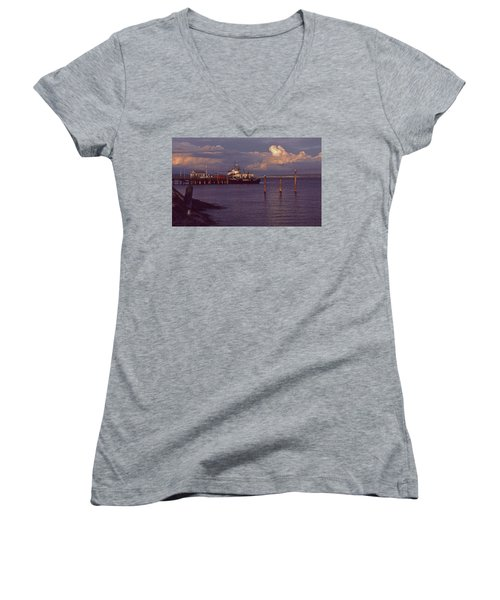 Women's V-Neck T-Shirt (Junior Cut) featuring the photograph Fuel Dock, Port Townsend by Laurie Stewart