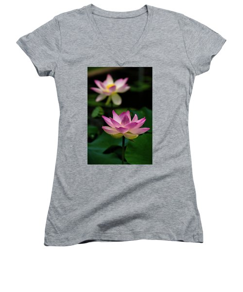 Full Blooming Dual Lotus Lilies Women's V-Neck