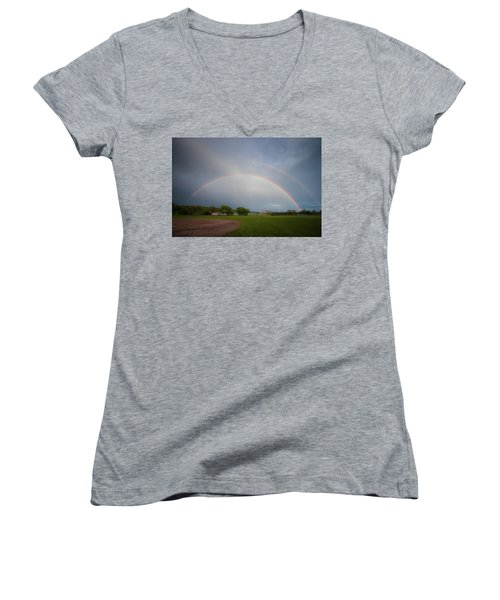 Full Double Rainbow Women's V-Neck