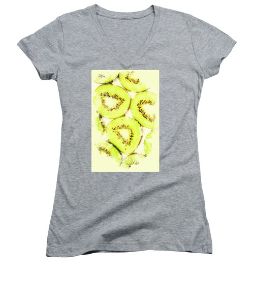 Full Frame Shot Of Fresh Kiwi Slices With Seeds Women's V-Neck T-Shirt (Junior Cut) by Jorgo Photography - Wall Art Gallery
