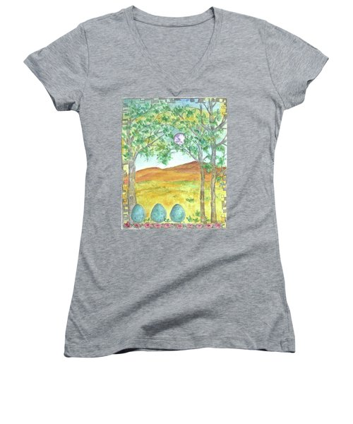 Women's V-Neck T-Shirt (Junior Cut) featuring the drawing Full Moon And Robin Eggs by Cathie Richardson