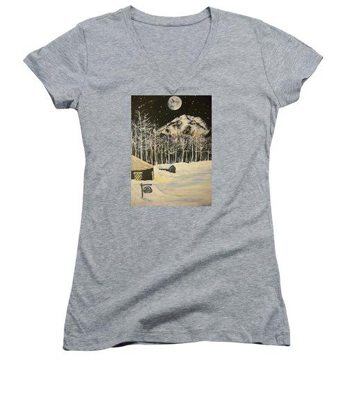 Full Moon At The Sundance Nordic Center Women's V-Neck T-Shirt