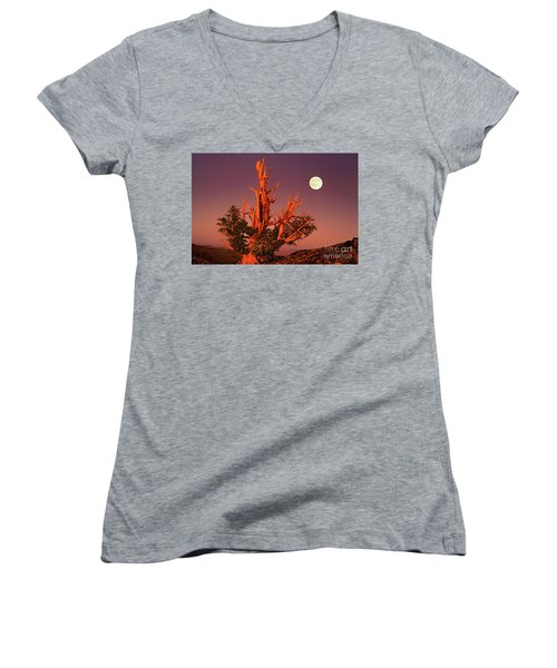 Full Moon Behind Ancient Bristlecone Pine White Mountains California Women's V-Neck