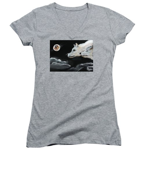 Full Moon Women's V-Neck T-Shirt (Junior Cut) by Carole Robins